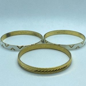 Napier White and Gold Abstract Bangles Set of 3